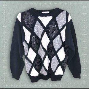 Vntg Black & White Checkerboard Sequin Sweater